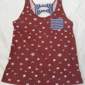 Minnie Mouse Red Tank White Stars Blue Strips